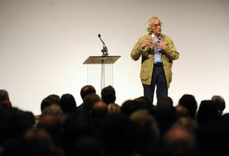 Artist Christo presented a lecture and slideshow of his works Wednesday evening June 23, 2010 in the Seawell Ballroom of the Denver Center for the Performing Arts.      Karl Gehring, The Denver Post