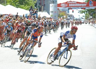 Riders compete in the final stage of the USA Pro Cycling Challenge on Sunday, Aug. 28, 2011, in Denver. (AP Photo/Jack Dempsey)