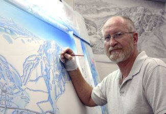 This undated photo courtesy of James Niehues shows Niehues working on the Mt. Hood Skibowl, Ore., trail map at his studio in Loveland, Colo.  From his start in 1987 until today, Niehues has painted about 300 panoramas, mostly of ski resorts, but also of golf courses, hiking trails, resort property and tourist regions.     (AP photo/James Niehues)