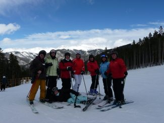 special to the dailyTerri Eaton, Sue Mathis, Kim Ruhland, Joni Hinterhaeuser, Diana Dettmering, Dianne Sample, Marion Braum and Violeta Powell celebrate at Keystone on the verge of completing six mountains in one day.