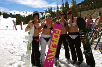 Loveland Ski Area/Dustin SchaeferThese ladies were all about the spring boarding look over the weekend at Loveland Ski Area. Loveland closes for the season May 6.