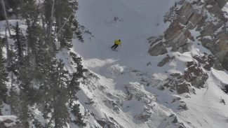 Special to the dailyTeam Summit's George Rodney charging through North Chute on upper Silver Fox in Snowbird. Rodney took third at the contest and won the overall junior tour.