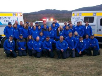 Special to the Daily The Summit County Ambulance crew, taken last month. To celebrate National Emergency Medical Services week, the group is hosting a blood drive and providing free CPR classes and blood pressure checks.