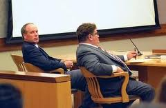 Daily file photo/Mark FoxDale Bruner, left, in court last week next to his attorney. He was found guilty of second-degree murder by a jury late Friday.
