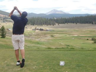 One of the classic holes of the Ranch Course at Keystone. No. 4 gives the golfer an unobstructed view of the challenges he/she faces with the rest of the front nine. It's important to make a good swing on this elevated tee with the par-4 measuring out at 412 yards. Distance is not the key to making a good score. Be sure to keep your ball below the hole on the approach shot.