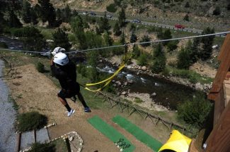 at the Colorado Adventure Center's zipline near I-70 in Idaho Springs on Sunday, August 12, 2012. AAron Ontiveroz, The Denver Post