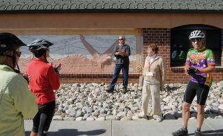Summit Daily/Mark FoxLast year Sandy Greenhut led a bicycle tour of public art for the Summit County Arts Exhibit Committee. This year, the
