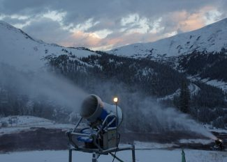Special to the Daily/Kimberly Trembearth. With the help of a little natural snow Thursday evening, Arapahoe Basin fired up their snowmaking guns early in the morning Friday.