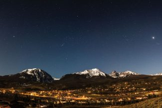 "Special to the Daily/Daniel McVeySilverthorne Stars, now on display in large format at the Denver Photo Art Gallery, includes Sirius (star, on left), Orion (constellation, middle), Venus (planet with starburst, right) and Pleiades, also known as the 'Seven Sisters"" (next to Venus), over Silverthorne."