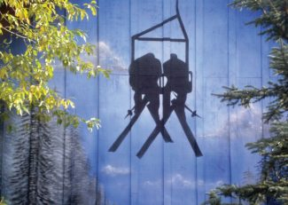 Special to the DailyMaria Hedrick's new mural now graces Arapahoe Lodge at Keystone Resort. Measuring 21 x 12 feet, the mural sits 25 feet above the ground. The design was selected by Keystone homeowners.
