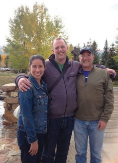 Special to the DailyCameron Laidlaw meets her 27-year pen pal from Australia, Will Inveen, for the first time after her husband sponsored his surprise visit to Breckenridge last month. From left: Cameron Laidlaw, Will Inveen and Douglass Laidlaw.