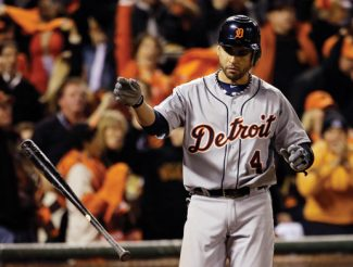 Detroit Tigers' Omar Infante reacts after striking out during the sixth inning of Game 2 of baseball's World Series against the San Francisco Giants Thursday, Oct. 25, 2012, in San Francisco. (AP Photo/David J. Phillip)