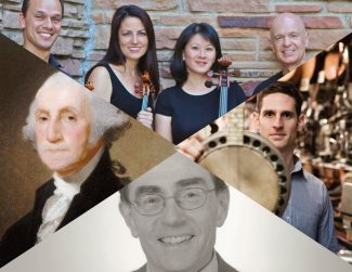 Special to the DailyThe Dercum Center presents two events this weekend - an 'American Journey' through art and music tonight at CMC, and a performance by Carpe Diem String Quartet Sunday in Dillon. Clockwise from top: Carpe Diem String Quartet, Jayme Stone, Stephen Ackert, National Gallery of Art.