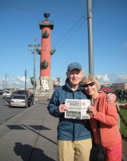 Frank and Myra Isenhart (Acorn Creek), posing with the Daily in front of Rostral Columns, Neva River bridge, St. Petersburg, Russia. Ten times zones away but never out of touch! Send your Globetrotter pics to summitup@summitdaily.com.
