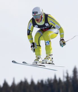 Kjetil Jansrud of Norway, speeds down the course during the men's World Cup downhill ski race in Beaver Creek, Colo., on Friday, Nov. 30, 2012. Jansrud placed third in the race. (AP Photo/Nathan Bilow)