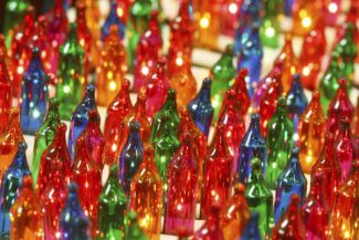 Close up of beautiful and colorful christmas lights