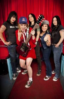 Special to the Daily/Devin TrueThe all-female AC/DC cover band, Hell's Belles, featuring Laura D., Adrian 'Angus' Conner, Lisa Brisbois, Amber Saxon and Mandy Reed, brings its head-banging party to three20south in Breck Saturday.