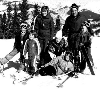 The Caulkins clan in the 1960s. George Caulkins owned a house in Aspen up the street from Pete and Betty Seibert when he decided to give Vail a try. Caulkins, Harley Higbie and Keith Brown all worked with Caulkins Oil Company, and raised most of the money to launch Vail. To George's right is the lovely and talented Elllie Caulkins.