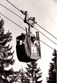 We have no idea if this is Vail's first gondola ride in 1962, but until someone proves otherwise we're saying it is. Vail was home to North America's first gondola, four-passenger cars.