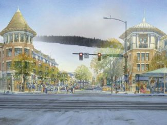 Special to the DailyA conceptual drawing of what the intersection might look like following a new urban renewal plan. The Silverthorne Town Council hopes to introduce more pedestrian-friendly areas to the town core as well as revitalize the economy by encouraging new businesses.