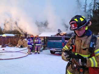 Summit Daily/Caddie NathOne man died in a structure fire that engulfed a mobile home at Farmer's Korner Tuesday afternoon, the Summit County Coroner's Office confirmed Wednesday.