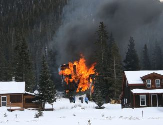 """Special to the DailyAn A-frame residence in Montezuma, known to locals as the """"Tiltin' Hilton,"""" was destroyed in a fire Tuesday afternoon."""