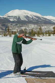 Breckenridge resident Mike Dorn takes aim while competing in the biathlon event at  the 2013  Summit County 50+  Winter Games at the Frisco Nordic Center . The two-day games return to Summit Monday and Tuesday with a silent auction and dinner Sunday.
