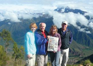 Special to the DailyFrisco residents Bruce Cochran, Jim Fuxa, Roxanne Smith and Pam McCain recently visited 10 Central and South American countries during a 25-day cruise aboard the MV Explorer. You can see them pause as they trek through the Sacred Valley in Peru.