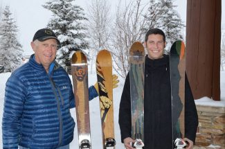 Don McLean, left, and Luke Dudley show off the new University of Colorado and Colorado State University logo skis they are marketing at Collegeskis.com in Steamboat, Colo., on Jan. 12, 2013. The skis are handmade in China by Breckenridge firm, Ski Logik. (AP Photo/Steamboat Pilot & Today, Tom Ross)