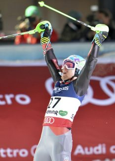 United States' TedLigety reacts after the slalom portion of the men's super-combined at the Alpine skiing world championships in Schladming, Austria, Monday, Feb. 11, 2013. (AP Photo/Kerstin Joensson)