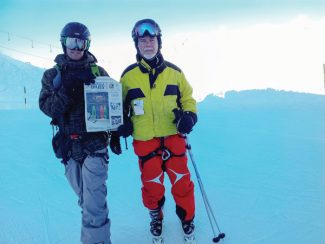 Special to the DailyNate Willis and his father, John J. Willis Jr., stand atop Des Grands Montets recently.