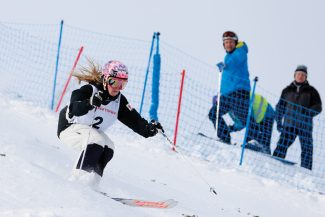 Justine Dufour-Lapointe of Canada competes in the women's moguls event at the FIS Freestyle World Ski Championships in Voss, Norway, Wednesday, March 6, 2013. (AP Photo/Scanpix Norway, Hakon Mosvold Larsen) NORWAY OUT