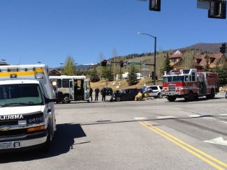 Summit Daily News/Matt SandbergAuthorities respond to the scene where three people, including two children, were injured after Joshua Pierce crashed his car into a Summit Stage bus in May. Pierce was sentenced Monday to probation and a short stint in jail after pleading guilty to three counts of assault.
