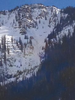 Courtesy Colorado Avalanche Information CenterThis view shows a slide that ran to the ground on a northeast aspect near treeline in the eastern portion of the Vail and Summit County zone near Montezuma on Thursday. It was reportedly triggered by one of several riders on the slope.