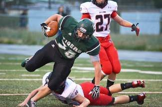 Summit's Duncan Roberts breaks a tackle in the teams home opener against Steamboat, Sept.7. Last Friday's game against Silver Creek was canceled, due to flooding in the Front Range, and will not be rescheduled.