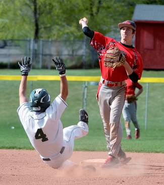 Glenwood Springs High School second baseman Ian Scruton turns a double play as Summit's Jake Latta slides into second base last season. The Tigers team this year is led by a group of five seniors with four years each of varsity experience.