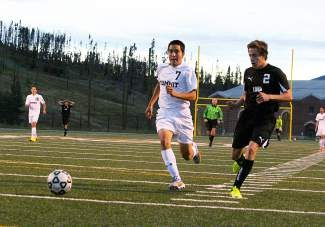 Summit senior Alex Veleta charges for the ball during the Tigers home opener Thursday, Aug. 21, against Conifer. Veleta scored two goals in the team's second  game at Valor Christian this week, bringing his season total to 4.