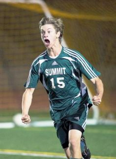Summit's Thomas DeBonville reacts after scoring the only goal in the school's 1-0 defeat of Pueblo Centennial during their playoff game on Wednesday, Oct. 23, 2013 at Dutch Clark Stadium in Pueblo, Colo. Summit won 1-0 on a second-half goal from DeBonville. (Chris McLean, The Pueblo Chieftain)