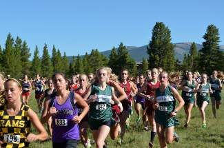 Katherine Pappas(642) leads the Summit High School girls' cross-country team at the start of the Lake County Invitational in Leadville earlier this season.