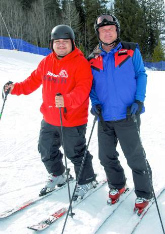 Two veterans with the Team Semper Fi group out on the hill at Keystone last week. The group brought 34 veterans from across the country to the Keystone Adaptive Cente for three days of skiing and snowboarding.