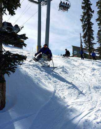 A veteran with the Team Semper Fi group takes a mono-ski down the bumpy stuff at Keystone last week. The group brought 34 veterans to the resort for three days with the Keystone Adaptive Center.