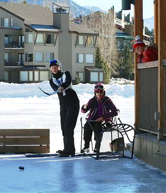 A participant in the hockey shoot event competes during the 35th annual Summit County 50+ Winter Games in 201 at the Frisco Nordic Center. The Games return to town this week with events in Keystone on Monday and the Frisco Nordic Center on Tuesday.