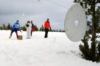 Milan Martinec, 74, of Houston, competes in the snowball toss event during the 35th annual Summit County 50+ Winter Games in 2015 at the Frisco Nordic Center. The Games return to town this week with events in Keystone on Monday and the Frisco Nordic Center on Tuesday.