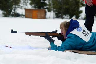 Pat McQuown, 65, of Boulder, shoots a pellet gun in the biathlon event during the 35th annual Summit County 50+ Winter Games in 2015 at the Frisco Nordic Center. The Games return to town this week with events in Keystone on Monday and the Frisco Nordic Center on Tuesday.