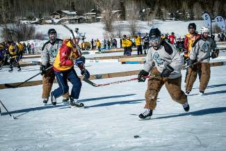 Yetis on ice at the Pabst Blue Ribbon Colorado Pond Hockey Tournament on Feb. 13. The seventh annual tournament, held at North Pond Park in Silverthorne, drew 150 teams and more than 900 players from 45 states for three days of round-robin play and plenty of PBR.