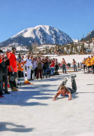 Who cares about ice burn when it's 40 degrees and shining? Spectators get in on the action with weird events and races at the Pabst Blue Ribbon Colorado Pond Hockey Tournament on Feb. 13. The seventh annual tournament, held at North Pond Park in Silverthorne, drew 150 teams and more than 900 players from 45 states for three days of round-robin play and plenty of PBR.