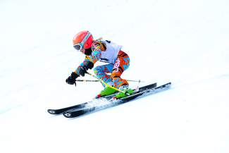 Team Breck U-10 skier Keira Horvath makes a turn on her way to a giant slalom win at the Bolle Age Class Open in Breckenridge on Jan. 9.