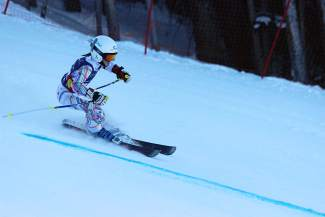 Loveland Ski Club's Sophia Gardner during her winning U-10 run at the Youth Ski League Giant Slalom at Copper Mountain on Jan. 24.