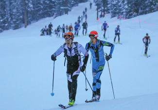 Skiers in race four of the Rando Rise and Shine series at Arapahoe Basin power up the slopes on Jan. 19. It was the final race in the four-event series.