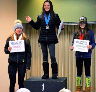 Loveland Ski Club U-14 skier Dasha Romanov (right) after taking second in her division for slalom at the SYNC Cup in Copper on Feb. 6 and Feb. 7.